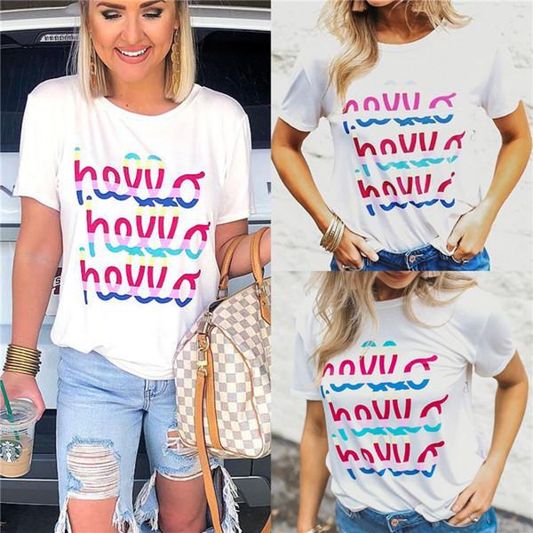 Mulheres Carta Imprimir Branco T-shirt Plus Size Ocasional O Pescoço Simples Senhoras Soltas de Manga Curta Top Ulzzang 2019 Roupas Da Moda Verão