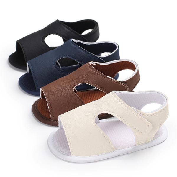 Şık Bebek Erkek Kız Sandalet Toddler Düz Renk Slip-On Ayakkabı Yaz Bebek PU Deri Sandalet 0-18Months