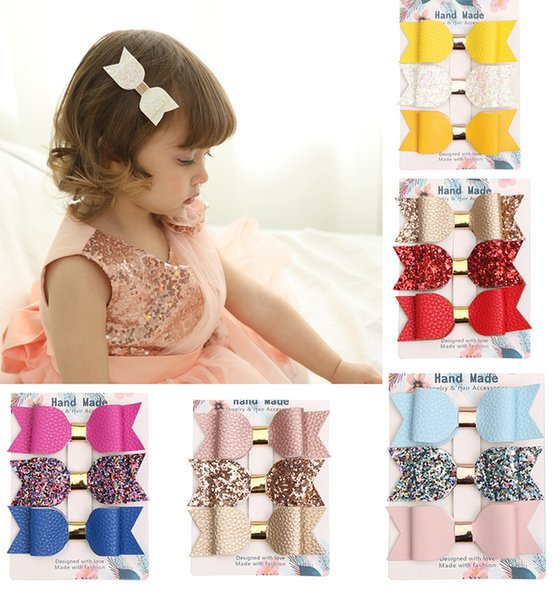 little baby party Barrettes girls Hair Accessories kids hairwear crystal clips ribbon mix colors leather bowtie