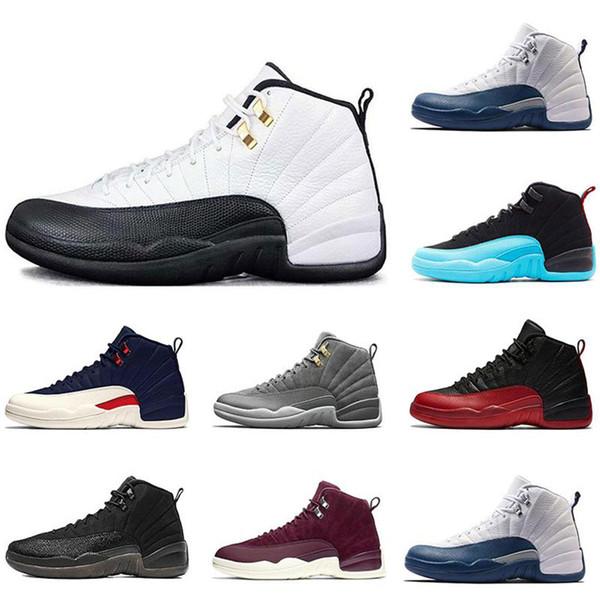 Klassischer Stil 12 12s Herren Basketballschuhe Paris Taxi Bulls Gym rot Der Meister Michigan Trainer Sport Sneaker Schuhe Größe 8-13