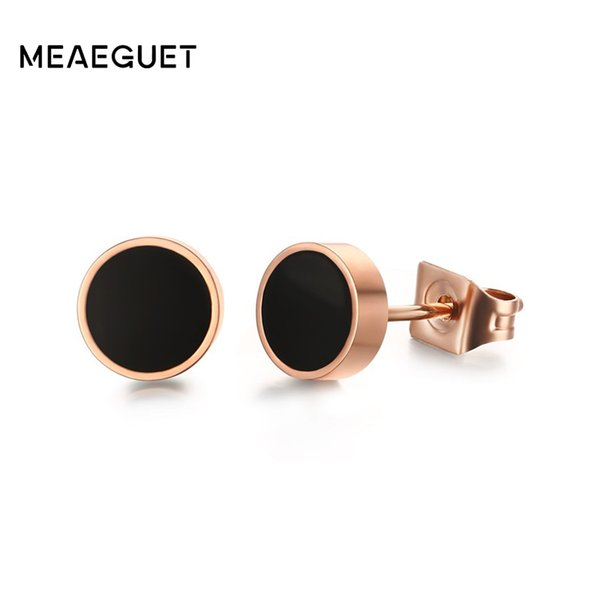 stud earrings for women Meaeguet Popular Rose Gold Color Stainless Steel 6mm Stud Earrings For Women Epoxy Circle Round Ear Jewelry