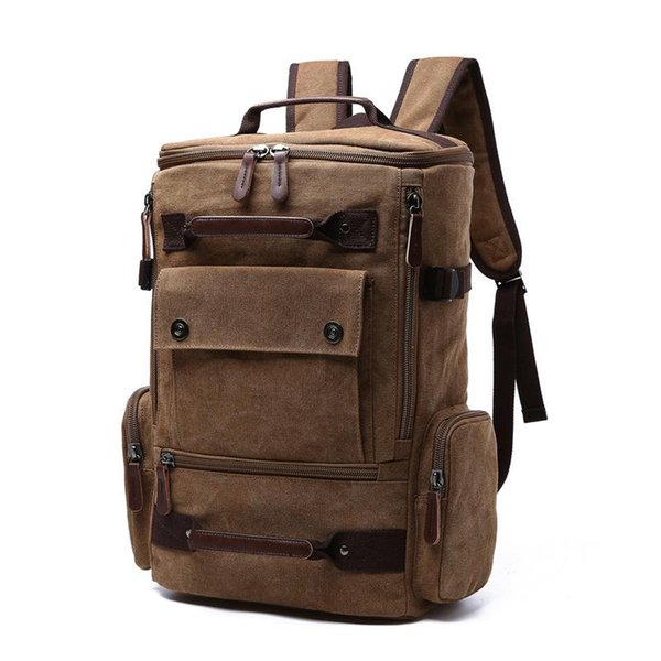 472d77e50247 2019 Vintage Wash Canvas backpack Fashion Men s Women s 15-inch Laptop  Backpack Large Capacity multifunctional