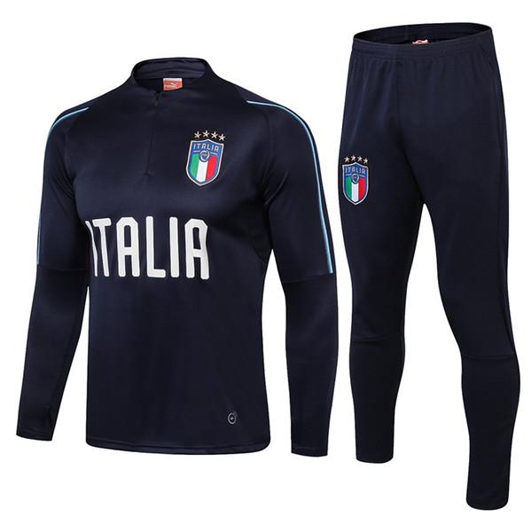 17 18 Survêtement Fußball Italien Trainingsanzug Italien Trainingsanzug Kits Fußball Chandal Italienisch 2017 2018 Trainingsanzug shinny engen Hosen