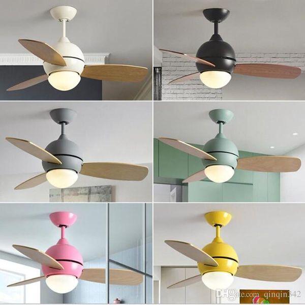 36 pouces Nordic Belle Macaron Led Ventilateur au plafond Creative Light Cuisine Chambre d » enfant Decro Fan Light Bar lumières de la salle à manger