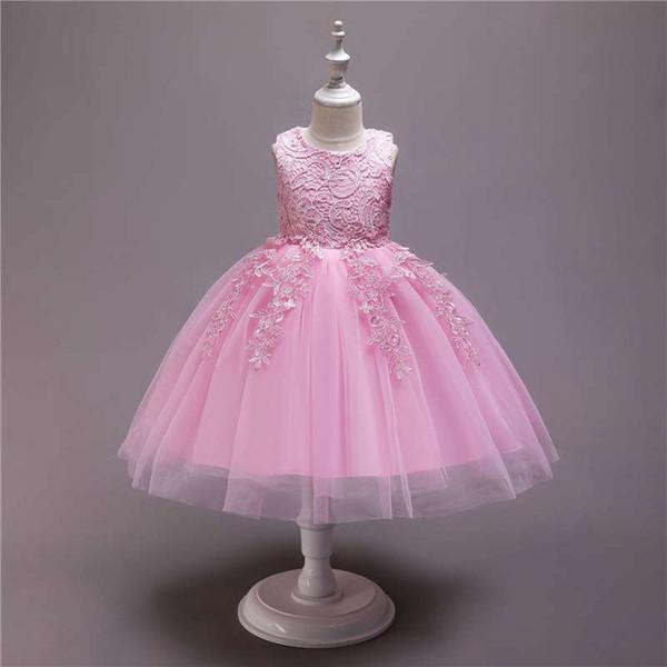 Niñas vestido nuevo 2019 verano de encaje de algodón para niños vestido de princesa Europa y América falda para niños ropa especial para niños
