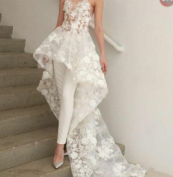 Bohemian White Jumpsuits Prom Dresses Long Train 2019 Zuhair Murad Sweetheart Lace Evening Gowns 3D Floral Appliques Cocktail Party Dress