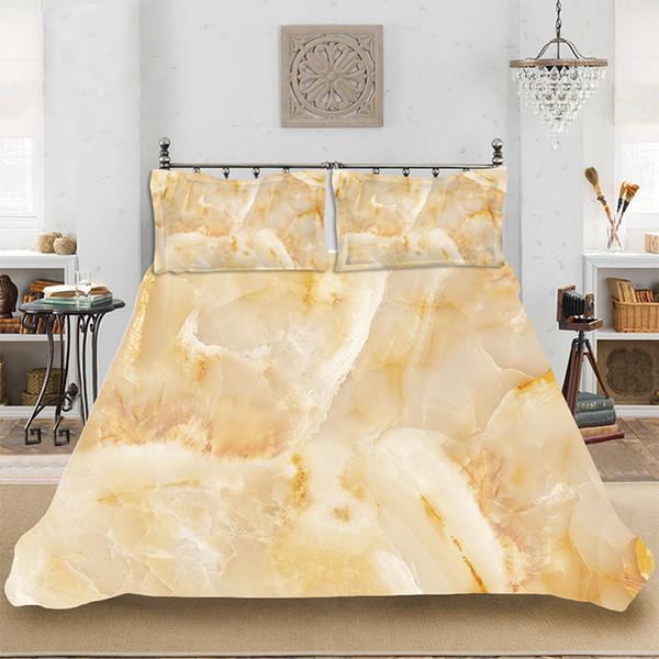 3D HD Print Consolatore Set biancheria da letto di lusso in marmo dorato Biancheria da letto include copripiumino Federa Stampa Biancheria da letto per la casa