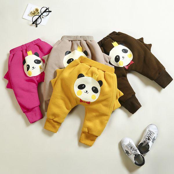 Kaliteli Bebek Erkek Kış Pantolon Çocuklar Için Karikatür Panda Pantolon Kız Kalın Sıcak Kadife Pantolon Çocuk Kış Tayt Giyim