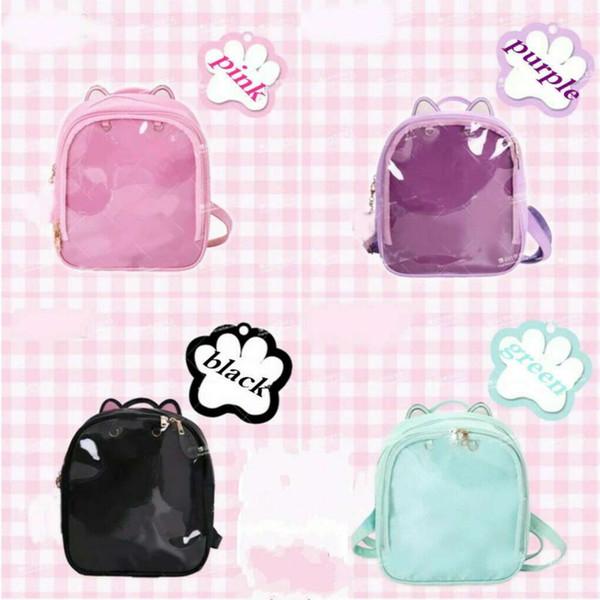 Kids Boy Girls Cute Lolita Rabbit Ears Sweet Itabag Transparent Schoolbag PU Backpack Shoulder Bag Bookbag Handbag Satchel Knapsack Rucksack