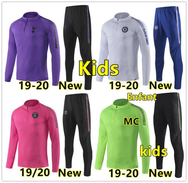 Kids 2019 2020 psg soccer tracksuit Child MBAPPE CAVANI DE BRUYNE HAZARD KANTE football training suit 19/20 Children jogging