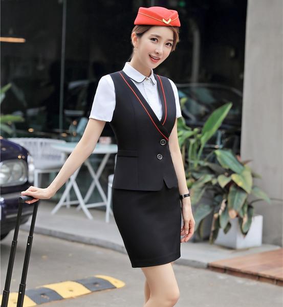 Compre Trajes De Negocios Formales Para Mujer Falda Y Top Conjuntos De Damas Vestidos De Trabajo Chalecos De Vestir Estilo Uniforme De Oficina A