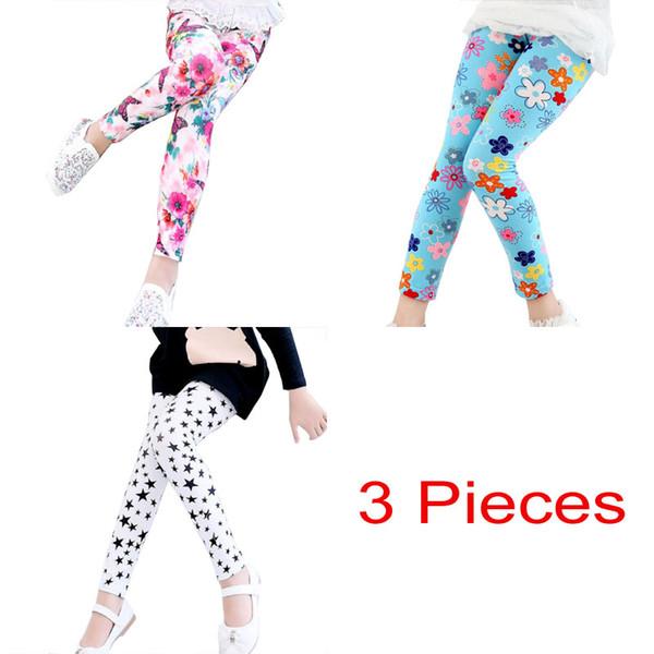 3pcs/lot Free Shipping Kids Girl Big Flower Dress Leggings Children Skinny Pencil Pants Baby Cute Cat Animal Floral Leggins