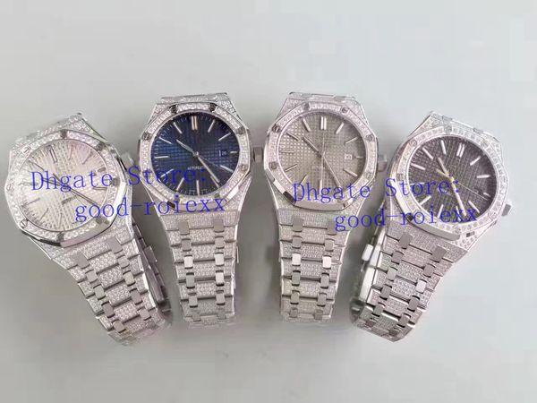 Relógios dos homens de luxo Mens Automatic Cal.3120 Movimento Relógio Completo Pave Bling Diamante Pulseira Homens Strass Real 15400 Data relógios de Pulso