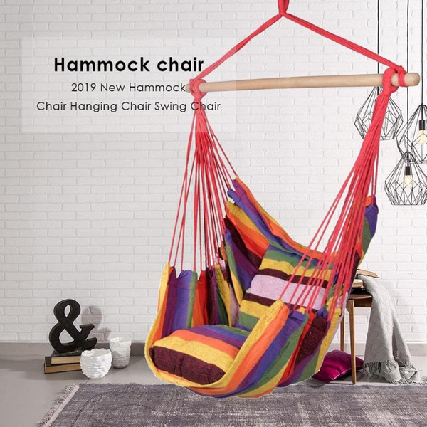 top popular Hammock Chair Hanging Chair Swing With 2 Pillows Outdoor Garden Hammock for Adults Kids Hanging Swing Bed drop ship 2021