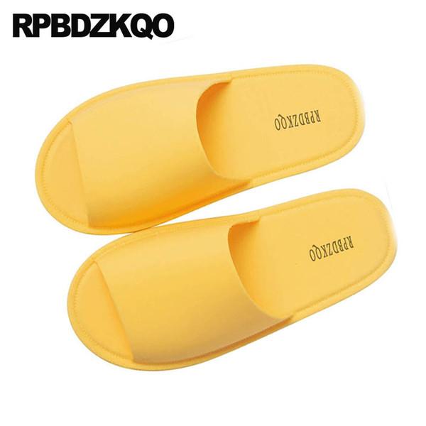 Moda yumuşak konuk kapalı büyük boy banyo düz kadınlar ev yatak odası artı slaytlar evi geniş fit ayakkabı bayanlar sarı terlik