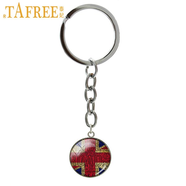 TAFREE Trendy round men jewelry keychain British Flag Old London Flag art picture pendant jewelry key chain gift for men NS433