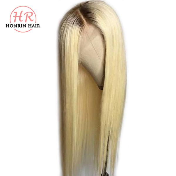 Honrin Cheveux Blonde Ombre T4 / 613 Perruque Avant De Lacet Cheveux Bruns Racines Soyeux Droite Brésilienne Vierge Brésilienne de Cheveux Humains Pré Plumée Plein Perruque