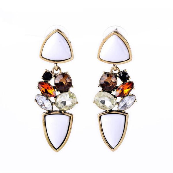 Charming Statement Earrings Bobo Jewelry Chic White Gemstone Shining Crystal Dangle Drop Earrings For Women