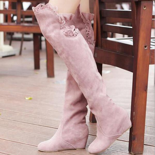 Pelle scamosciata del Faux Slim stivali sexy sopra il ginocchio alto delle donne stivali da neve ragazze dolci pattini del fiore di alta pizzo autunno inverno della coscia
