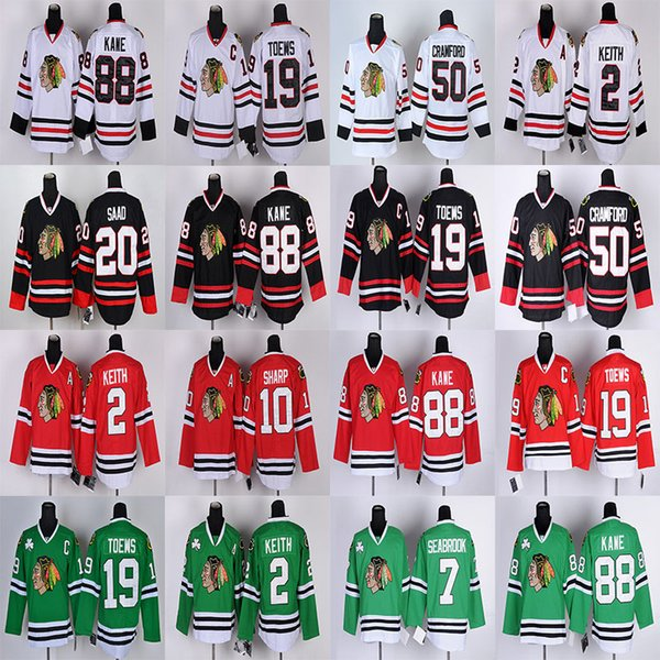 Chicago Blackhawks 19 Jonathan Toews 88 Patrick Kane 50 Corey Crawford 20 Brandon Saad 2 Duncan Keith 7 Seabrook hockey jerseys