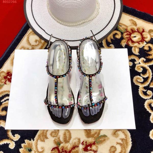 2019 mode neue frauen sandalen farbigen diamanten Wasserdichte Taiwan sommer sandalen klassischen stil
