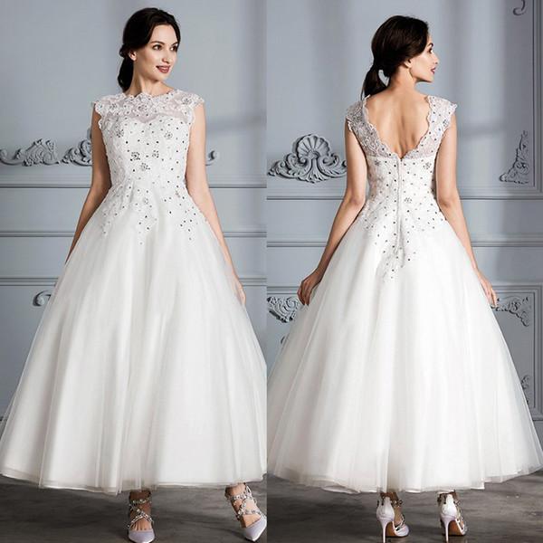 New Beach Wedding Dresses Ankle-Length Bridal Gowns Plus Size A-Line Lace Appliques Zipper Crystal Custom Made 2019 Robe De Mariée