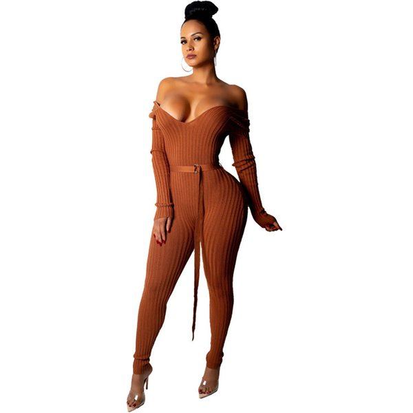 Sexy Off The Shoulder Ribbed Jumpsuit Women Winter Long Sleeve Bodysuit Skinny Knit Jumpsuit Club Wear Party Bodycon