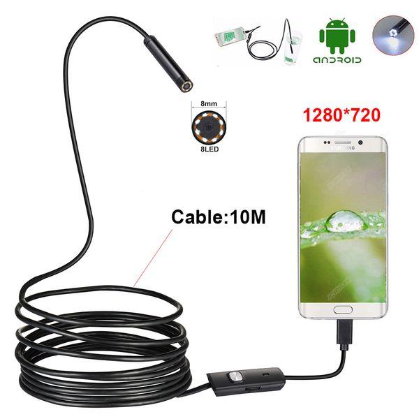 otg akıllı telefon android PC için 10m esnek usb endoskop kamera HD 720P su geçirmez yılan muayene kamera