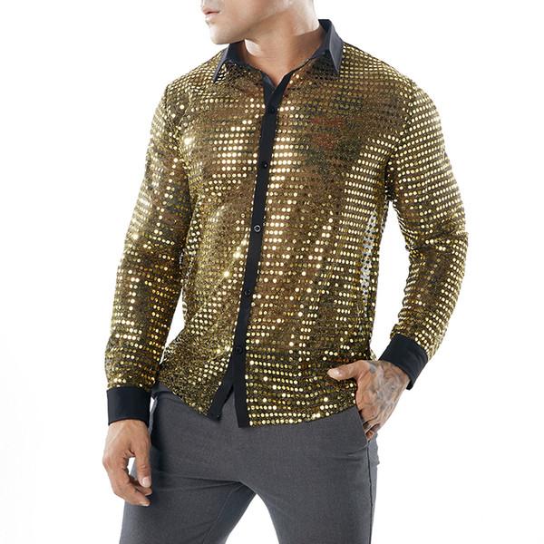 Sexy Evening Club Camisas Ver a través de la ropa para hombre Escenario Jugar camisas Oro Plata Negro Sequined Tops