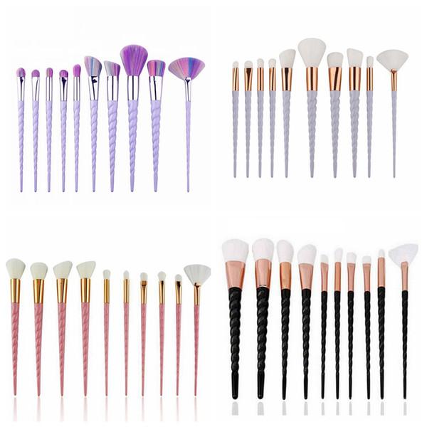 10 unids / set Pinceles de Maquillaje Set Rainbow Horse Brushes Thread Handle Powder Blush Eyeshadow Brush Kit 5 Color Moda Belleza Herramienta HHA303