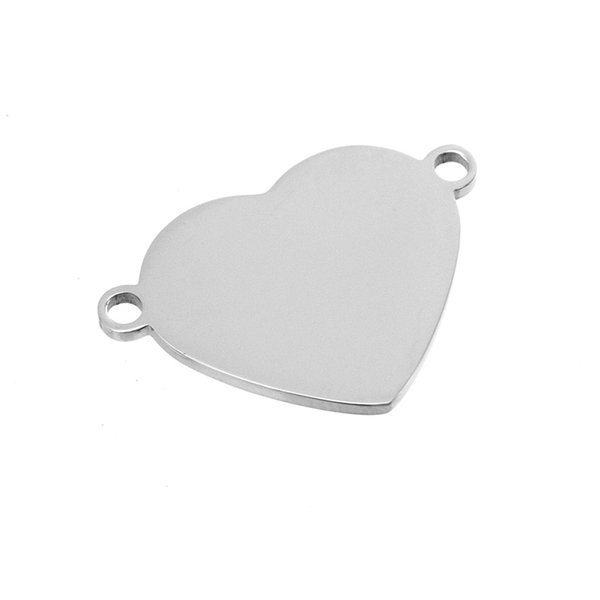 100% Stainless Steel 2 Loops Heart Blank Charm Pendants Steel/Gold/Rosegold Color Both Sides Mirror Polished Wholesale 50pcs