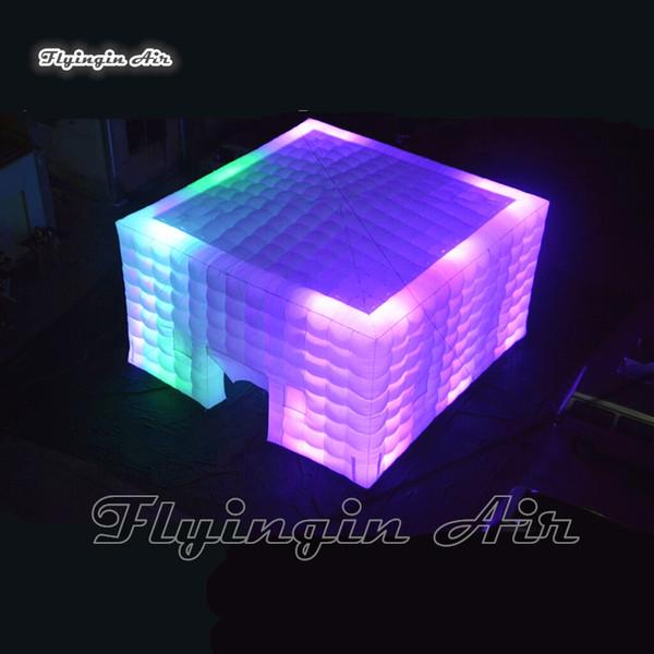 Cube inflável iluminação exterior Tent tampa personalizada Jardim Branco Pop Up Marquee Tent Estrutura para publicidade do evento e do partido