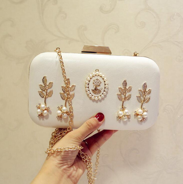 factory brand package exquisite high-end banquet diamond hand bag fashion diamond leather evening bag in vain woman lovely pearl chain bag
