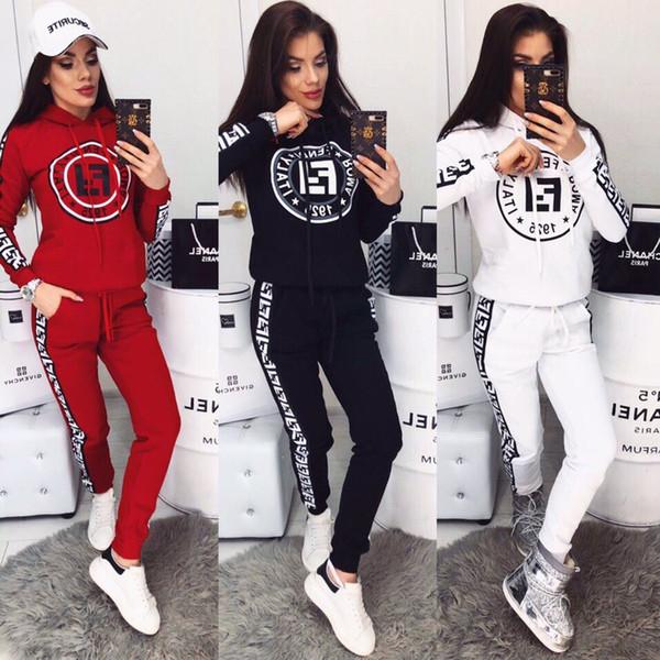 2019 Moda das Mulheres Com Capuz Treino 2 pcs Calças Roupas Casual Esportes Ao Ar Livre Treino de Manga Longa Pullover Tops Conjunto de Roupas Jogger