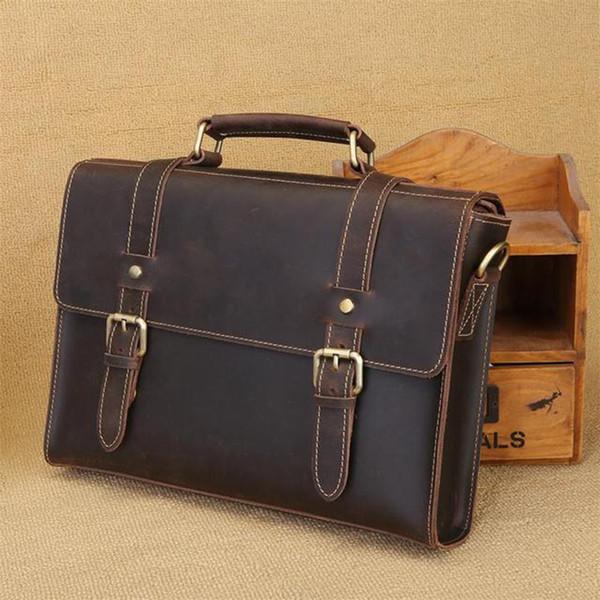 British retro men briefcase messenger bag handmade suede leather shoulder bag business crazy horse leather man Totes handbag
