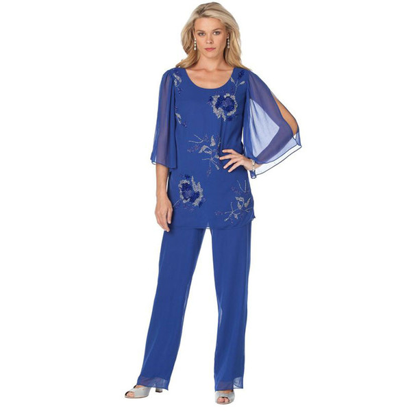 Modest Blue Mother Of The Bride Pant Suits Two Pieces Sequined Wedding Guest Dress Chiffon Plus Size Long Sleeves Mothers Groom Dresses