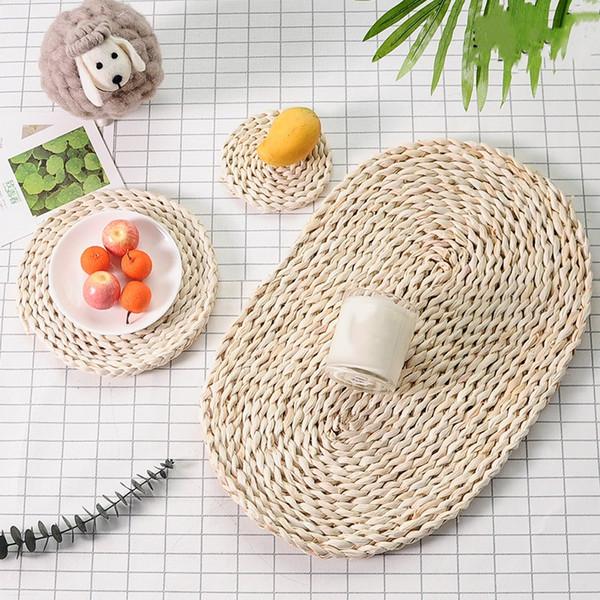 Contracted day type grass makes up rural eat mat, cup mat, adiabatic mat to braid flower tea service special mat circular eat mat by hand