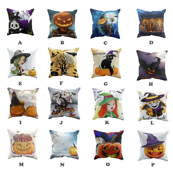 Funda de almohada fantasma de Halloween Sofá Cintura Cojín Funda de cojín Decoración para el hogar