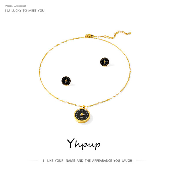 yhpup roman clock stud earrings necklace jewelry set black gold steel stainless classic statement accessories for female wedding