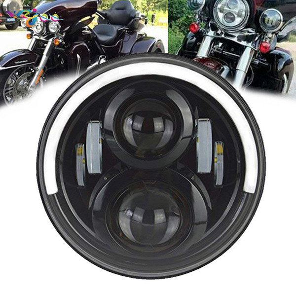 "Projector 7Inch LED Headlight Black 7"" LED H4 Headlamp For Harley Davidson Street Glide Fat Boy Road King Motorcycle"