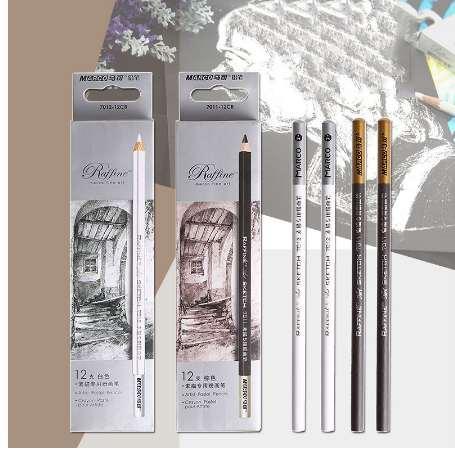 1 Pieza de Arte Lápices de Dibujo Suave Marrón / Blanco Profesional Sketching Lápices de Pintura Para Artista Artística Útiles Escolares