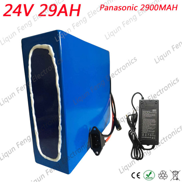 EU US No Tax 500W Battery 24V 30AH EBike Battery 24V 30Ah Electric Bicycle Battery for Panasonic cells With 20A BMS +29.4V 5A Charger