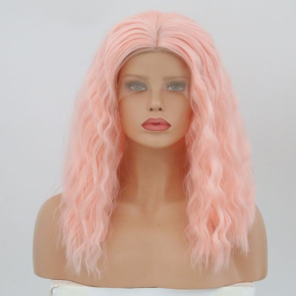Sale 150%Density High Quality Lace Front Synthetic Wigs Curly Wigs Hair For Black Women Pink Color Simulation hunman hair Free Shipping
