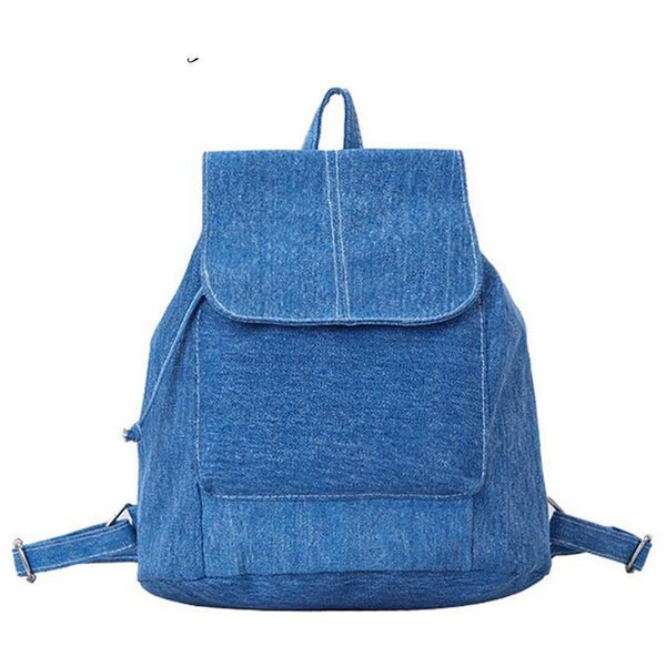 good quality Women Denim Backpacks For Teenage Girls Small Drawstring Backpack Jeans For Teenage Sac A Dos New Solid School Rucksacks