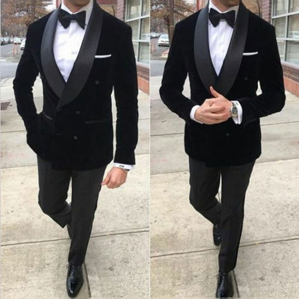 Black Velvet Smoking Jacket Men Suits for Wedding Man Suits Blazers 2Piece(Coat+Pants)Groom Tuxedos Two Buttons Slim Fit Terno Masculino