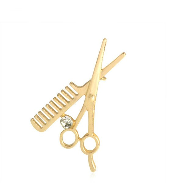 Scissors Comb Brooch Needle Pins Fashion Jewelry for Hairdresser Gold Silver Plating Jean Jacket Denim Hat Handbag Accessory Gift For Boy