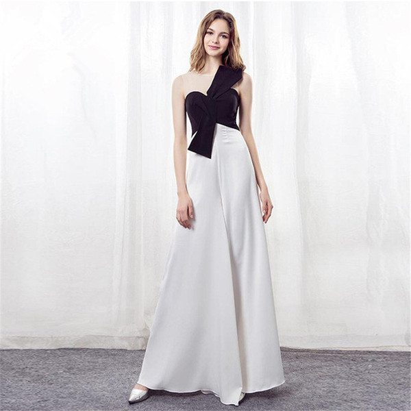 e384b8381cb3 White Black Chiffon Evening Dress 2018 Off Shoulder Jumpsuits Women Custom  Sexy Formal Pageant Gowns For