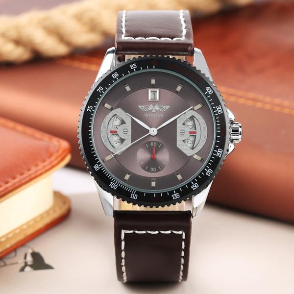 Único YISUYA Reloj Mecánico Hombres Automáticos Automáticos Relojes de Moda Hombres Elegantes Banda de Cuero Marrón Ocio Horloge Dames