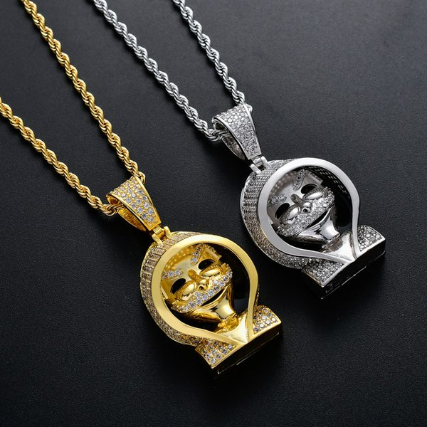 Mode europäischen und amerikanischen Hip Hop Schmuck New Cloak Tod Anhänger Kupfer Inlay Zirkon Halskette (der rückseitigen Abdeckung kann geöffnet werden) Nachtclub Teil