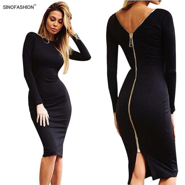 Sexy Night Club Bandage Dress Party Bodycon Dress Vestidos Solid Color Back Zipper Ladies Long Sleeve Slim Knee Dresses